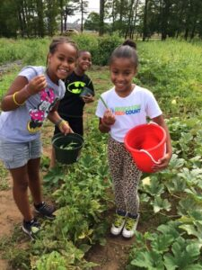 Three young children hold small buckets as they learn the joys and hard work of farming in the leafy green beds